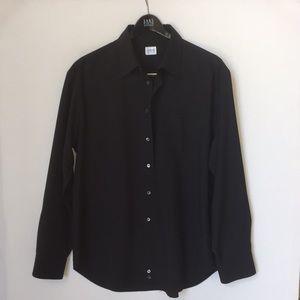 $395 Armani Collezioni Black Dress Shirt XL
